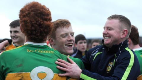 The celebrations begin for Watty Graham's of Glen who won a fourth successive Ulster Minor Club tournament by beating Cavan's Southern Gaels in extra time