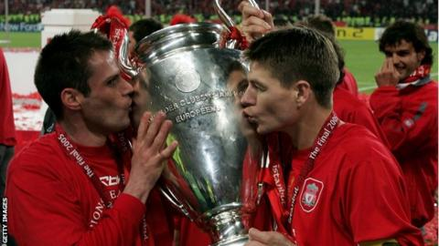 Jamie Carragher (left) and Steven Gerrard were in the Liverpool side which won the 2005 Champions League