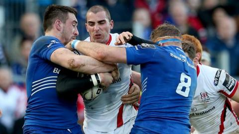 Match action from Leinster against Ulster at the RDS