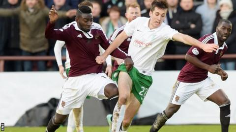 Hearts' Prince Buaben and Callum Booth battle for the ball during the Edinburgh derby