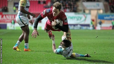 Scarlets full-back Liam Williams opened the try scoring against Ospreys