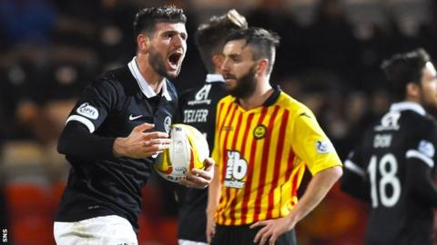 Nadir Ciftci celebrates scoring for Dundee United