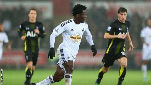 Wilfried Bony in action for Swansea against Tottenham