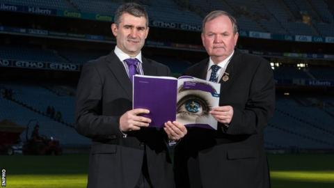 Hurling Review Committee chairman Liam Sheedy with GAA President Liam O'Neill