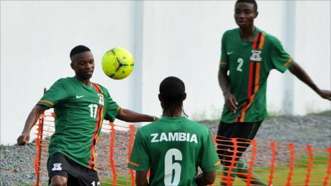 Zambian players train