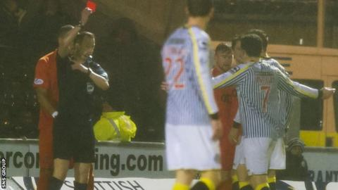 Referee Willie Collum sent Kenny McLean off on a miserable wet day in Paisley