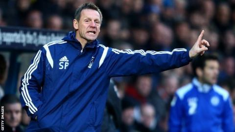 Stuart Pearce organises from the touchline during the FA Cup defeat against Rochdale