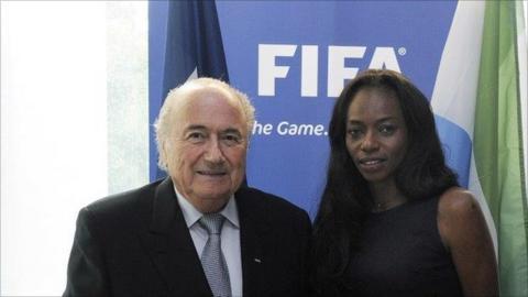 Isha Johansen with Sepp Blatter