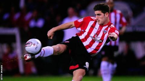 Sheffield United player Ched Evans in action during the npower League One game between Sheffield United and Chesterfield at Bramall Lane on March 28, 2012 in Sheffield.