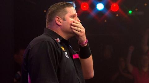 Scott Mitchell reacts after making it into the BDO semi-finals