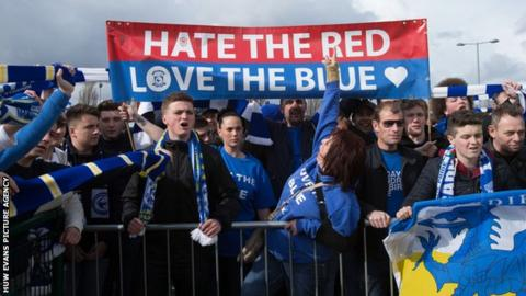 Cardiff City fans protesting before the Premier League match against Liverpool in 2013-14