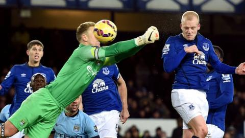 Everton forward Steven Naismith (right) heads in his side's equaliser against Manchester City