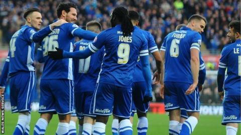 Cardiff celebrate Sean Morrison's goal against Fulham