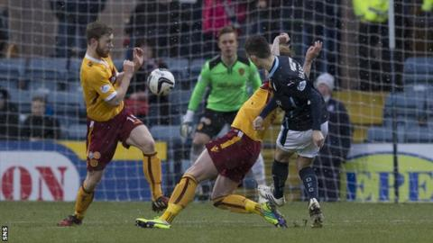 Alex Harris scores for Dundee against Motherwell