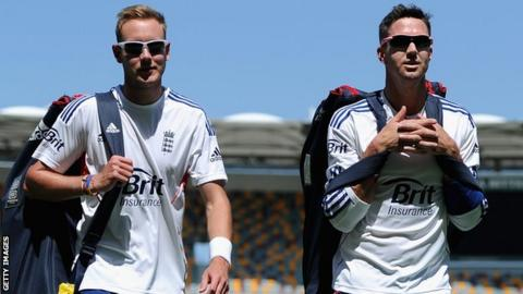 Former England team-mates Stuart Broad (left) and Kevin Pietersen