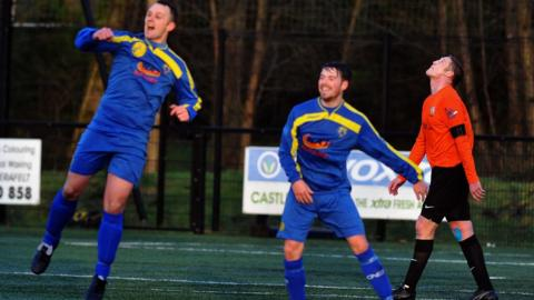 A leap of joy from Moyola Park striker Chris Dowie after he makes it 2-0 against holders Glenavon at Mill Meadow