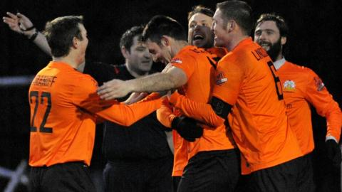 Glenavon fought back and Eoin Bradley is congratulated after his late header secures a 3-2 win over Moyola Park