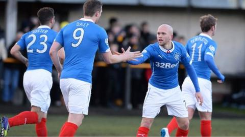 Rangers scorer Nicky Law thanks striker Jon Daly for setting him up for the winning goal at Alloa