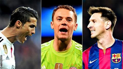 Ronaldo, Manuel Neuer, Lionel Messi