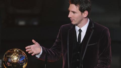 Lionel Messi wins the Fifa Ballon d'Or award for the third time in January 2012