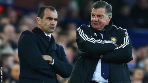 Everton manager Roberto Martinez (left) and West Ham boss Sam Allardyce
