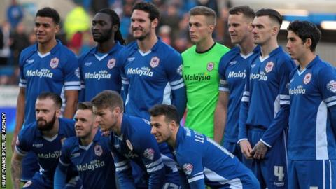 Cardiff City players return to their blue kit