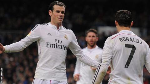 Gareth Bale and Cristiano Ronaldo celebrate a goal for Real Madrid