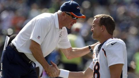 John Fox and Denver Broncos quarterback Peyton Manning