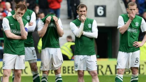 Hibs players in despair after suffering relegation