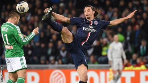 Paris St-Germain striker Zlatan Ibrahimovic in action against St Etienne