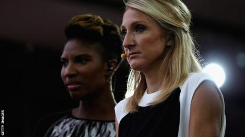 Radcliffe commentates on athletics for the BBC, appearing alongside Denise Lewis