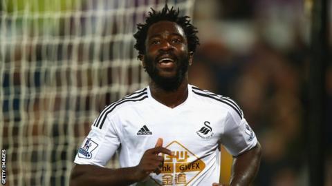 Wilfried Bony celebrates scoring for Swansea