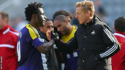 Wilfried Bony scored nine goals while playing for Garry Monk's Swansea side this season