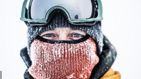 "Ed Leigh: ""The temperature is -20 C and I am wearing everything I have bought with me and am still cold, the wind penetrates everything, including my merino wool thermals with ease. My feet are numb and all of my joints are sore."""