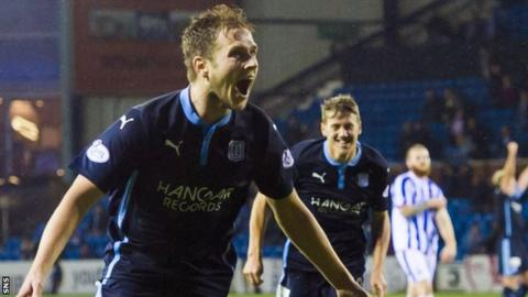 Greg Stewart celebrates scoring for Dundee