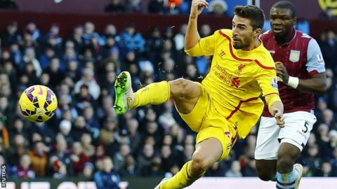 Liverpool striker Fabio Borini scores against Aston Villa
