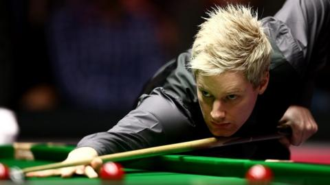 Neil Robertson in action at the 2015 Masters