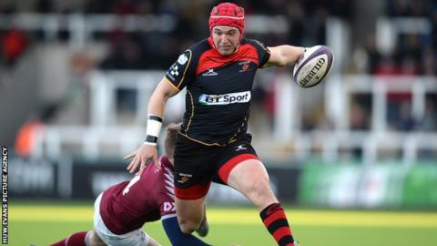 Dragons centre Tyler Morgan scored the first of the Welsh side's tries at Newcastle