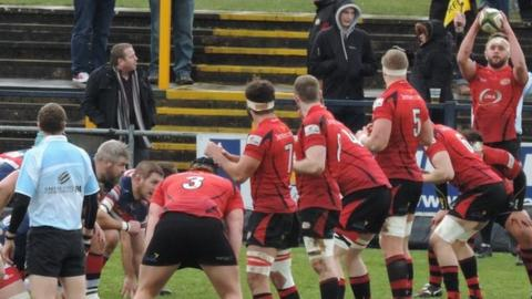 Jersey line-out against Doncaster Knights at Castle Park