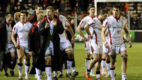 Disappointed Ulster players salute their travelling support after going down 60-22 to Toulon in their European Champions Cup pool match