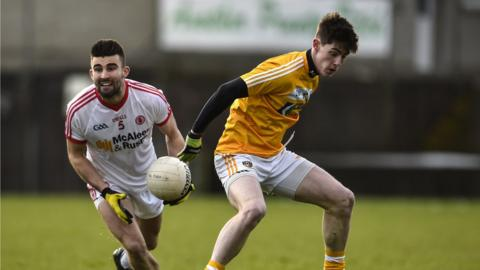 Tiernan McCann and Paddy McAleer in action as Tyrone book their McKenna Cup semi-final place by overcoming Antrim