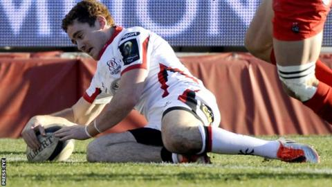 Paddy Jackson scores a try in the defeat by Toulon on Saturday