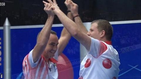 Simon Skelton and Robert Paxton celebrate their pairs title