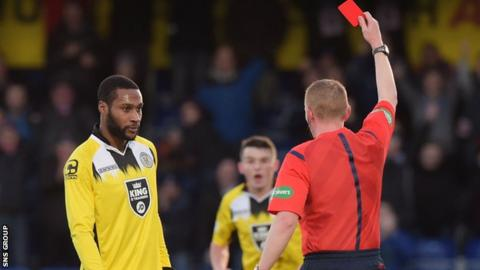 St Mirren striker Yoann Arquin was sent off against the club he left this month