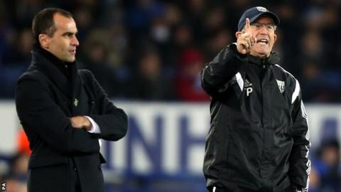 Everton manager Roberto Martinez and West Brom boss Tony Pulis