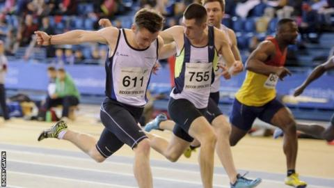 Cameron Tindle wins the 60m at the National Open