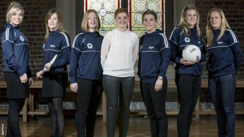 Camogie players Anna Geary of Cork, Wexford's Kate Kelly, Clare's Deirdre Murphy, WGPA Chairperson Aoife Lane with footballers, Valerie Murphy of Cork, Mayo's Fiona McHale and Tyrone's Gemma Begley at Tuesday's launch
