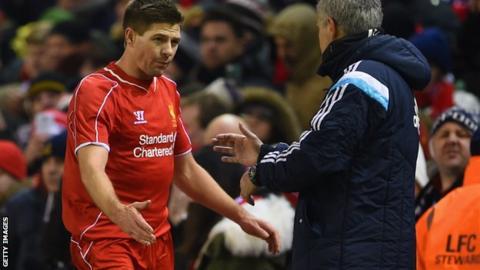 Liverpool midfielder Steven Gerrard and Chelsea manager Jose Mourinho