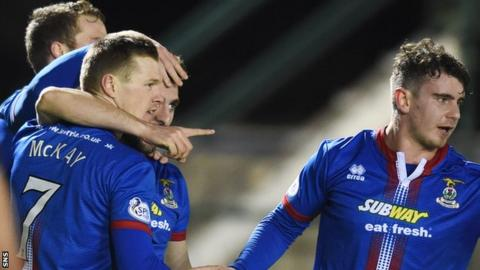 Billy Mckay (left) celebrates as Inverness defeat St Johnstone