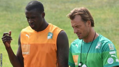 Yaya Toure and Herve Renard